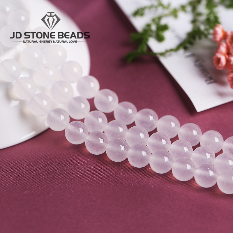 Natural  Ice Afghnistan Jade White Chalcedony  Round Stone Beads DIY Hand Made Fine Jewelry Accessories  Hot Sales Beads