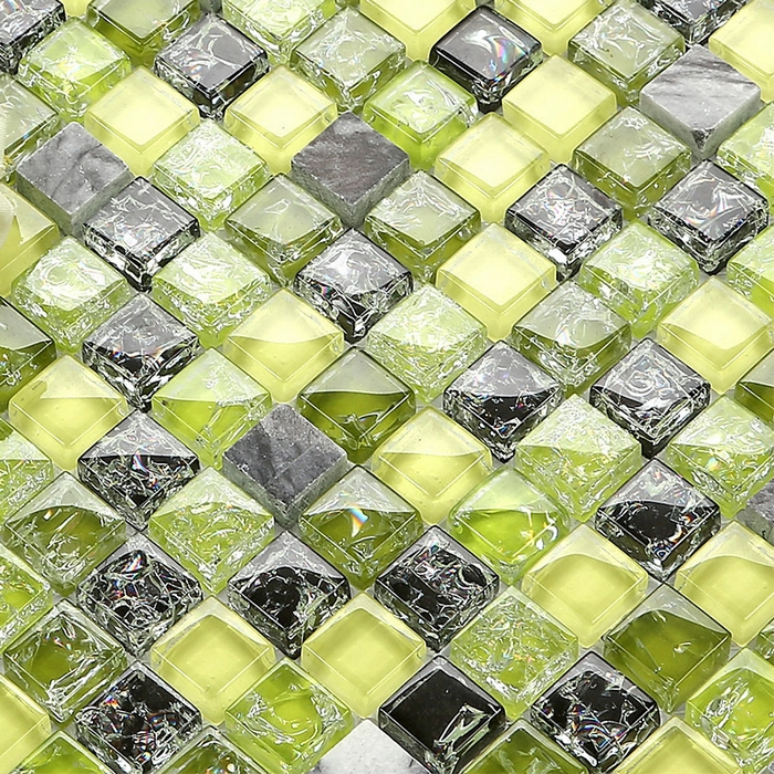 Green Glass Tile Bathroom: Green & Yellow Color Ice Crackle Glass Mixed Gray Stone