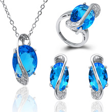 Fashion Crystal 925 Silver Jewlery Set 2016 Necklaces & Earrings Pendants Rings for Women Wedding Bridal