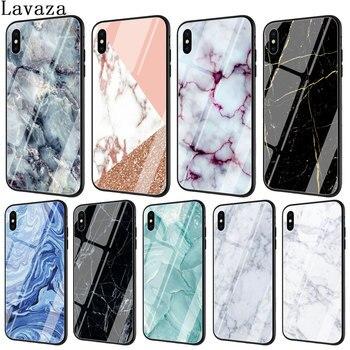 5cfc17ee9c7 Funda para teléfono de vidrio templado con impresión de imagen de mármol  Lavaza para Apple iPhone XR X XS Max 6 6 S 7 8 más 5 5S SE 10 8 Plus