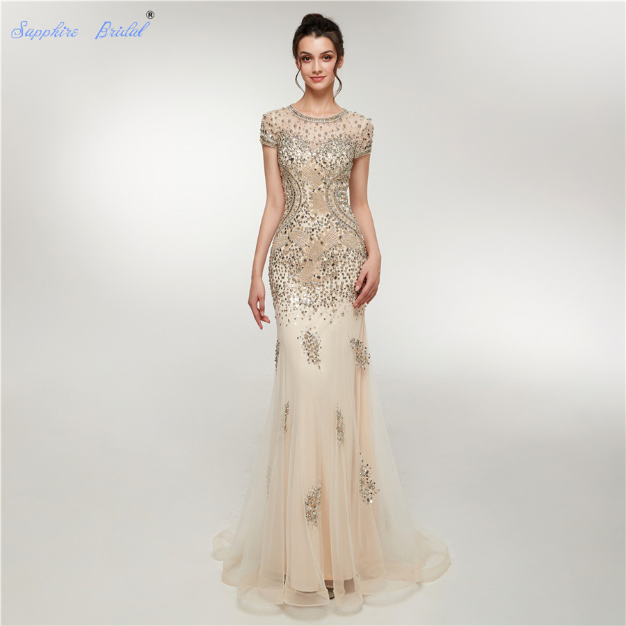 Sapphire Bridal High Quality Autumn Winter Collection Champagne Formal Gowns Abito Da Sera Short Sleeve Sparkly   Evening     Dress