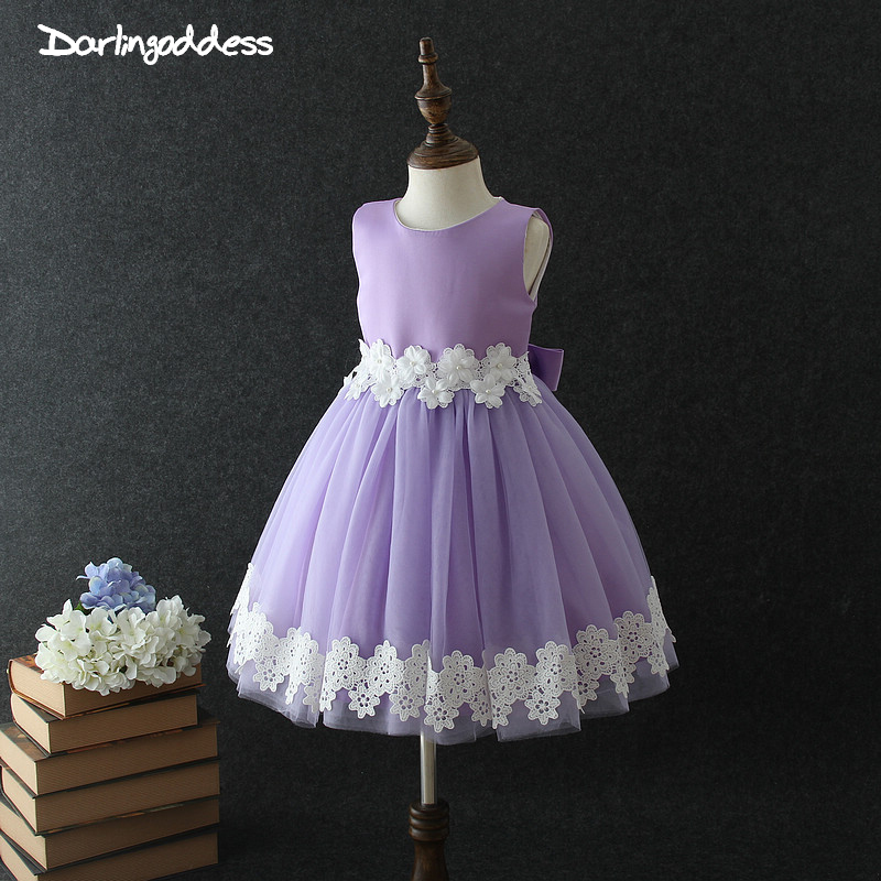 Darlingoddess Purple Lace   Flower     Girl     Dresses   2018 Ball Gown Princess Baby   Girl   Christening Gowns vestidos de primera comunion