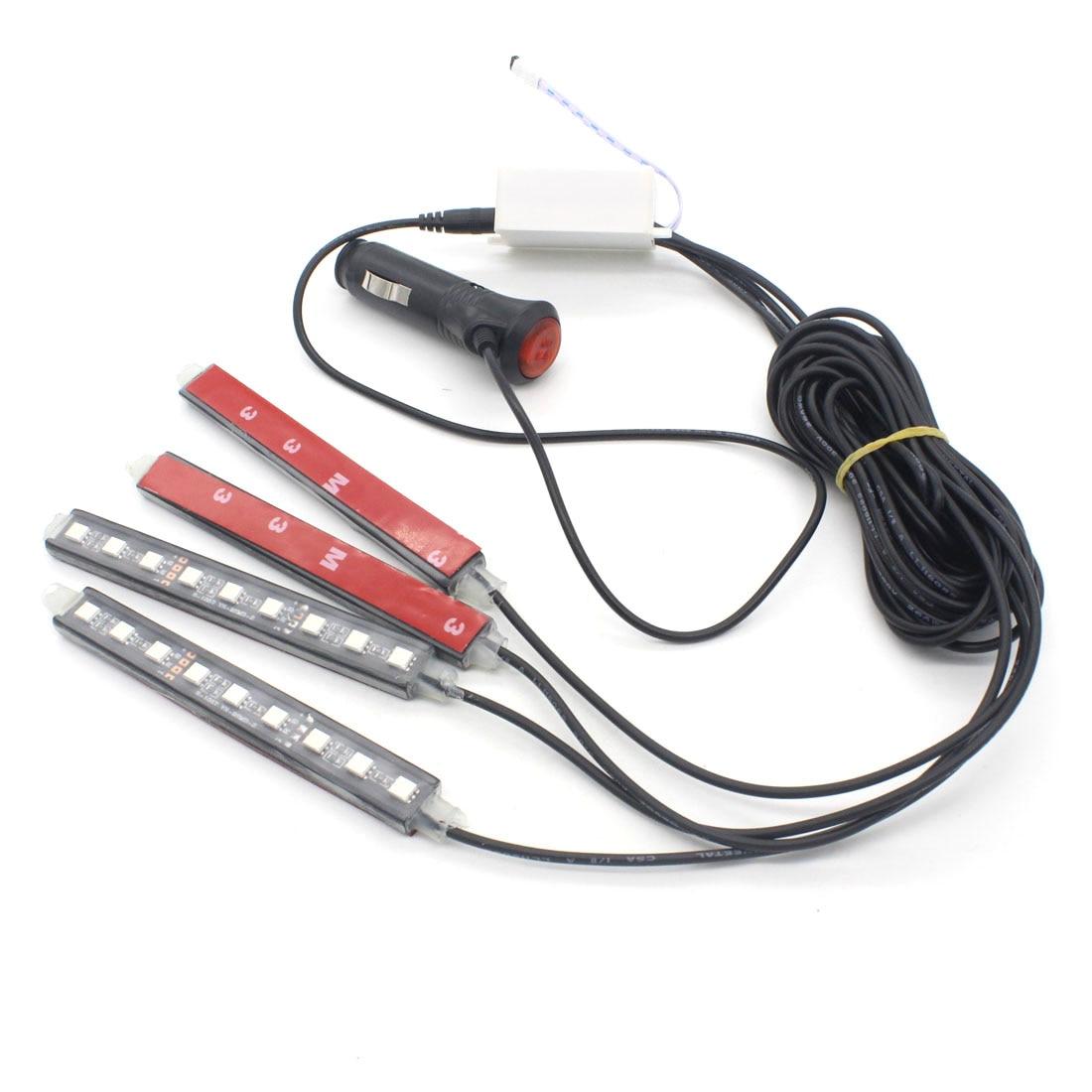 4X LED Car RBG Strip Light LED Decorative Atmosphere Lamp Auto Wireless Remote Interior Lighting Multi Color Car Styling