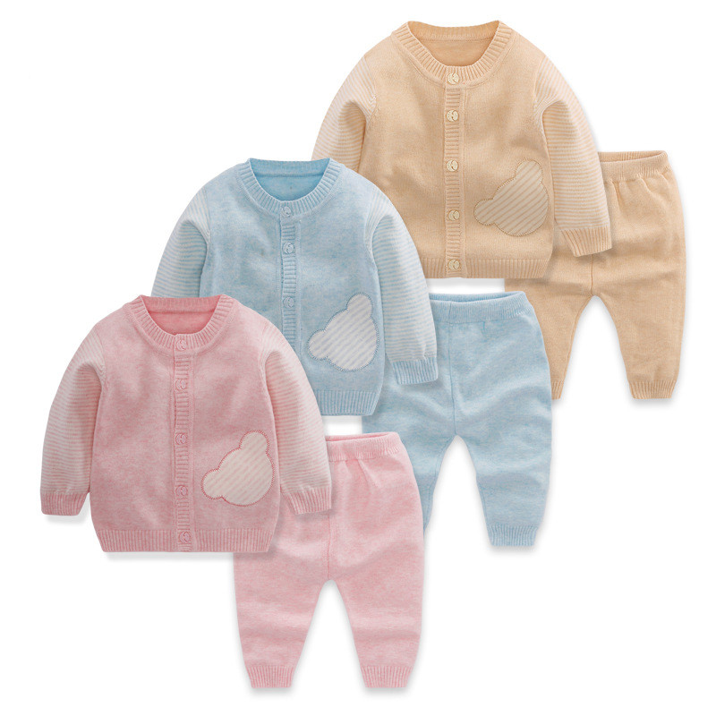 Baby Girls Clothes 2017 Autumn Spring Girls Sweater Suits Babys Set Casual Cotton Knitting Cardigan Jacket Pants 2pcs Outfit