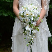 White Waterfall Elegant Wedding Bouquets Artificial cala lily Bridal Brooch Bouquet Wedding Bouquet For Brides Bruidsboeket 2018