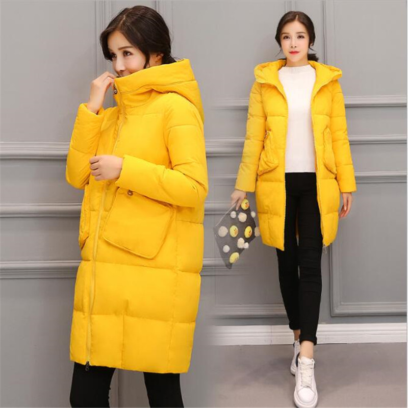 the genou À La Épaissie Style army Femmes Coton Femelle Over Red Capuchon Taille Hiver Manteau 2018 Green yellow Veste rembourré Plus Long B242 Rembourré black p4PYFqF
