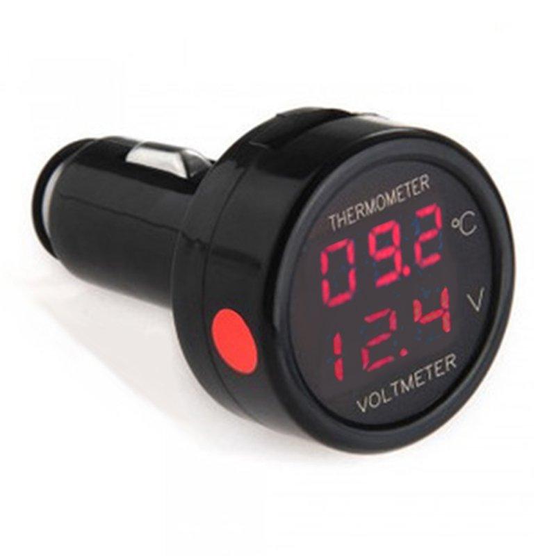 Digital Car Voltmeter Thermometer Temperature Meter Battery Monitor Red Blue Led Dual Display 2 In 1 DC 12V 24V 5pcs dc 6 12v measuring range 2 wire connect red led digit voltmeter