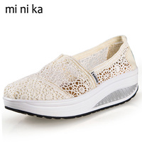 Lace Breathable Summer Shoes New 2017 Platform Women Flats Hollow Outs Fashion Women Flat Shoes Casual