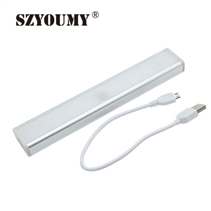 SZYOUMY 30 Pcs Rechargeable 10LED USB Cabinet Light Portable PIR Motion Sensor Lamp for Kitchen Cabinet and Bedroom Wardrobe usb rechargeable touch sensor led cartoon birdcage night light