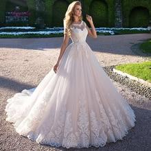 Liyuke נשוי כדור שמלת חתונה שמלת תחרה אפליקציות תבנית סקופ צוואר שווי שרוולים מותאם אישית משלוח חינם