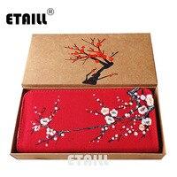 ETAILL 2017 Chinese Plum Hand Painted Ladies Zipper Wallet Brand Design Cotton Fabric Purse Handmade Clutch
