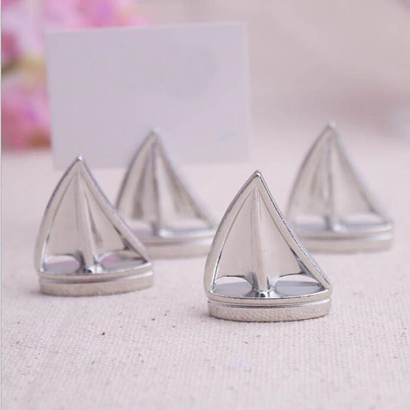 300 pcs Alloy Sailing Boat Place Card Holder Silver Photo Holders Wedding Table Figure Seat Decoration Party Favors ZA1215