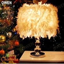 Оуэн Освещение уютная спальня ночники настольная лампа творческий романтическая свадьба кристалл перо кристалл лампы 2015 новый