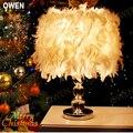 Owen acogedor dormitorio Iluminación lámpara de mesa lámpara de noche creativa romántica de la boda de plumas de cristal lámparas de cristal 2015 nuevo