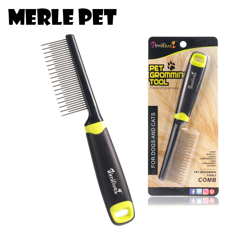 MERLE Pet Shedding Hair Grooming Dog Different length Row of comb For Pet Cat Plastic Handle Brush Airbag Stainless Steel D07012