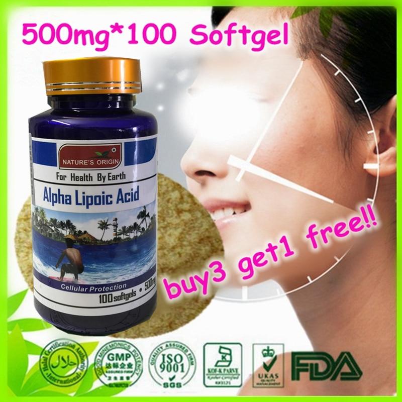 (Buy 3 Get 1 Free)Alpha Lipoic Acid 500 mg. - 100 Vegetarian Softgel usa alpha lipoic acid ala 100 mg 120 caps free shipping
