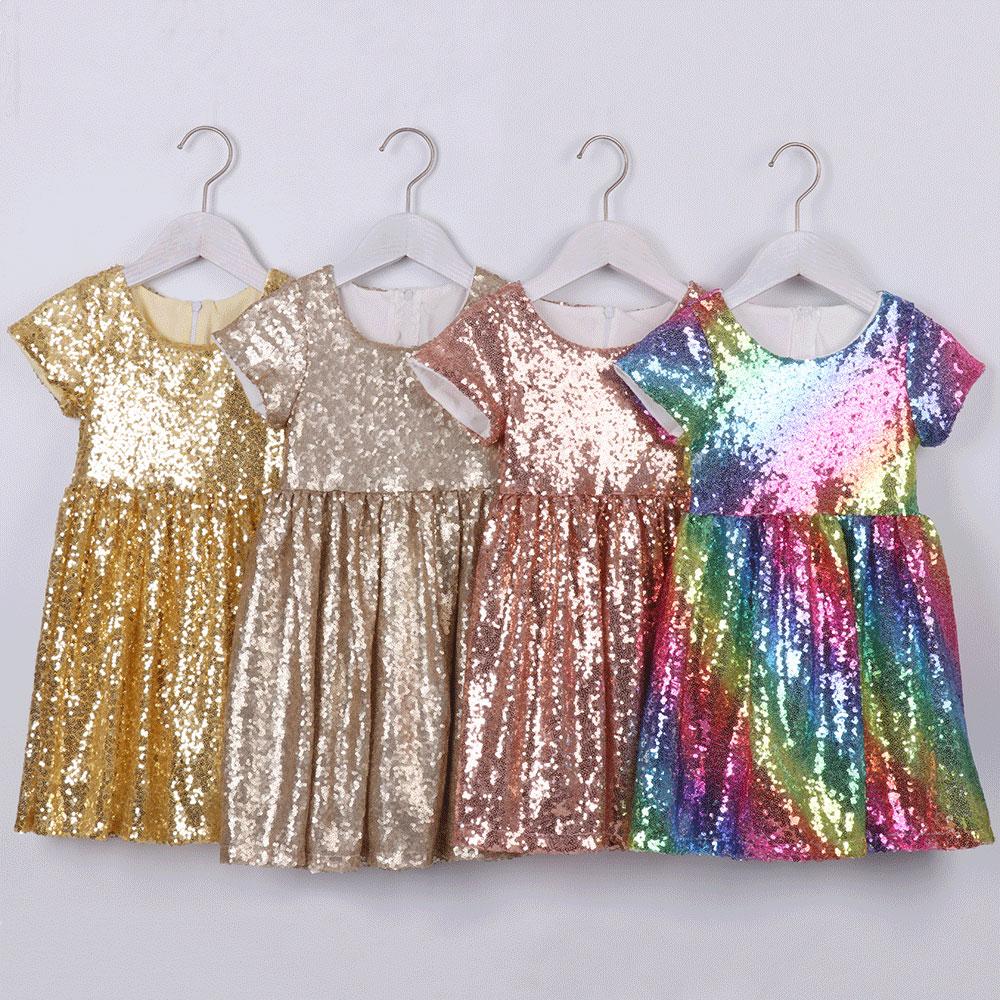 Girl Sequin Tutu Dress Kids Princess Glitter Dress For Girls Pink Summer Dress First Communion Dresses For Girls Party Dress
