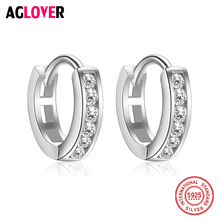 2018 New Trendy 925 Sterling Silver Cubic Zircon Simple Item Women Circle Hoop Earrings for Ladies Jewelry
