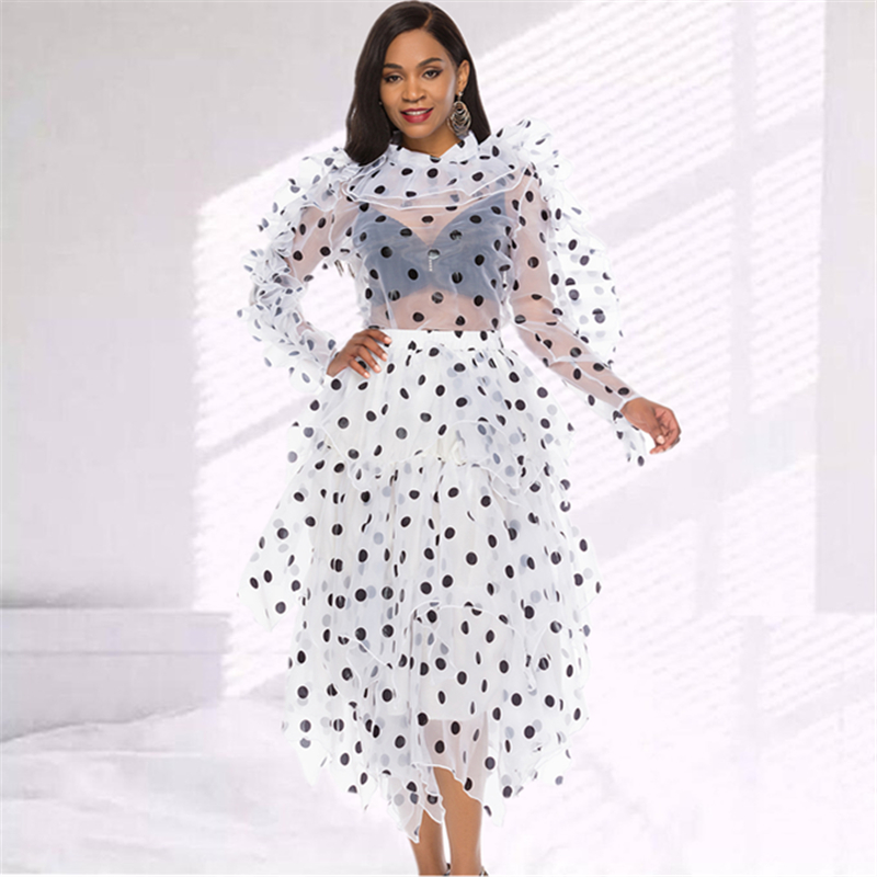 2 Pieces Sets Women Blouse Skirts Polka Dot Suits Ruffles Thin Transparent Shirts Elegant Tutu Jupes Lady Fashion Summer Spring