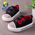 casual brand design Autumn new low top bling crystal slip on flat soft canvas toddle girls sneaker girl baby first walkers shoes