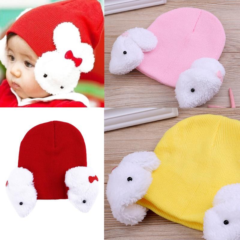 Winter Baby Knitted Cap Korean Children Hat Cute Rabbit Ear Protection Warm 3D Cartoon Bunny Boy Girl Crochet Hat Beanies