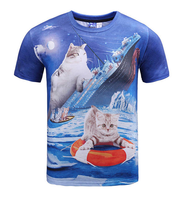 Cuhk child Pirate Cat 3D t-shirt for boys and girls New summer style teens ed25a8b49d62