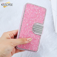 I6 6S Plus Silk Skin Glitter Diamond Wallet Stand Leather Case For Apple IPhone 6 6S
