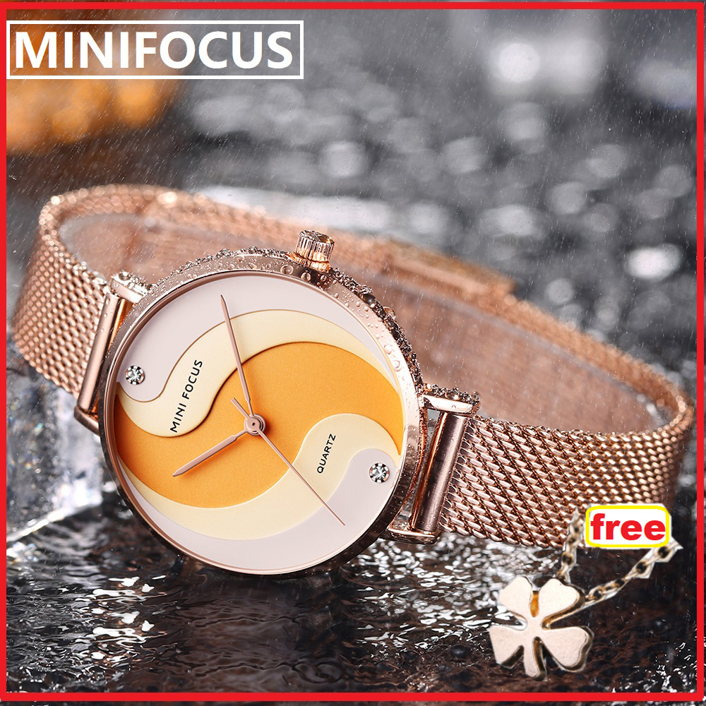 Top Brand MINIFOCUS Fashion Quartz Women Watches Golden Mesh Strap Crystal Decoration Luxury Analog Ladies Watch Elegant Dress