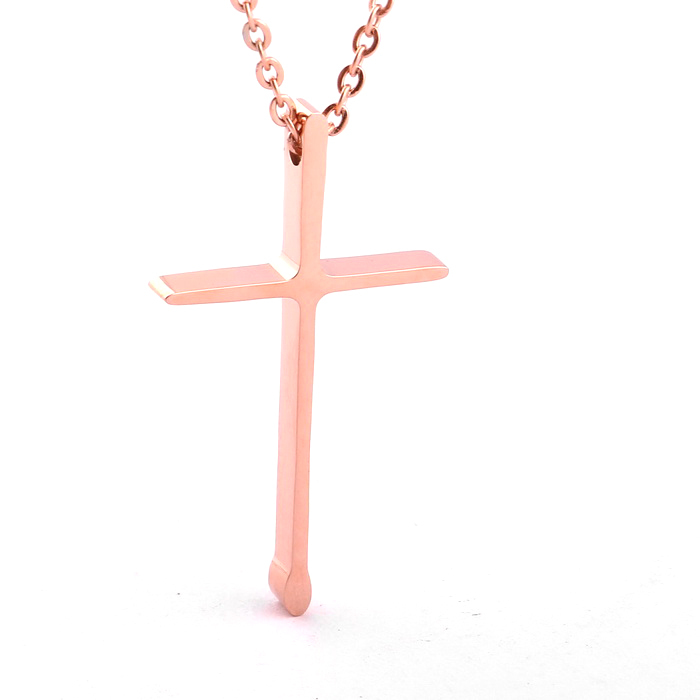 2014 fashion womens jewelry girls gift necklace rose gold plated 2014 fashion womens jewelry girls gift necklace rose gold plated stainless steel thin chain cross pendant necklace wholesale in pendant necklaces from aloadofball Choice Image