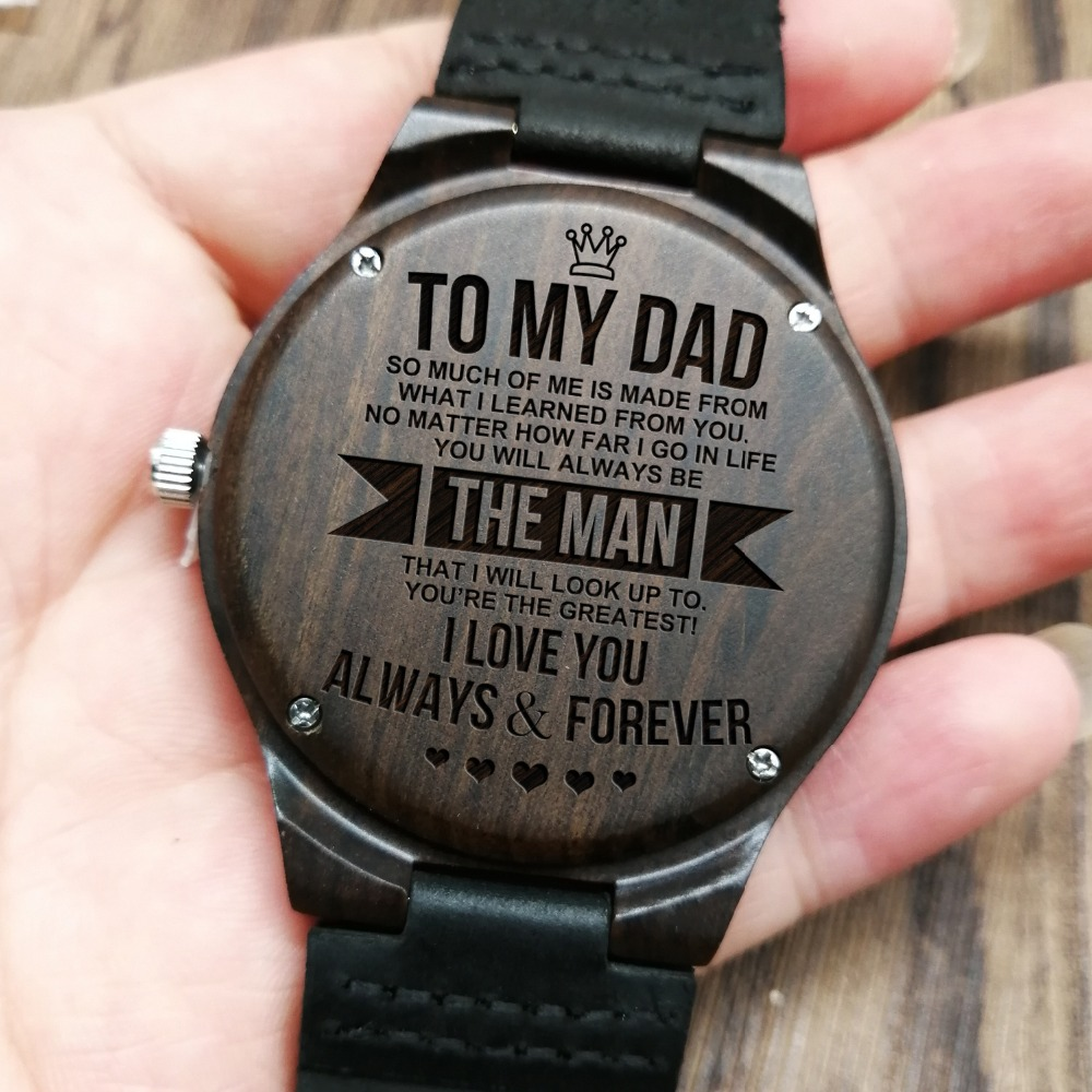 To My Dad-How Much You Really Care From Son Or Daughter Engraved Wooden Watch Men Watch Personalized Watch Father's Day Gifts