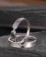 Пара Кольца белого золота с бриллиантами обручальное унисекс Кольца вечность Бесконечность уникальный Для женщин Для мужчин Promise Ring Юбилей