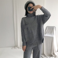 Women Sweaters And Pullovers Real Pull Poncho 2017 Winter New Wool 2 Piece Female Thick Warm Knit Sweater Trousers Two Suit