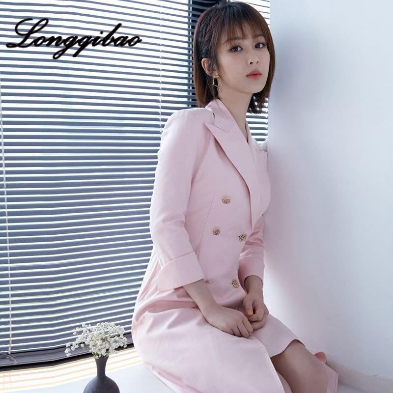 High quality 2019 fashion women's foreign style irregular suit dress fragrance wind waist Hong Kong style cool wind dress