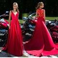 Vermelho Equipado Vestidos Longos 2017 Vestidos de Baile Longo De Festa Com Decote Em V A-Line Sexy de Aniversário Vestidos de Cetim Vestidos de Noite Formais