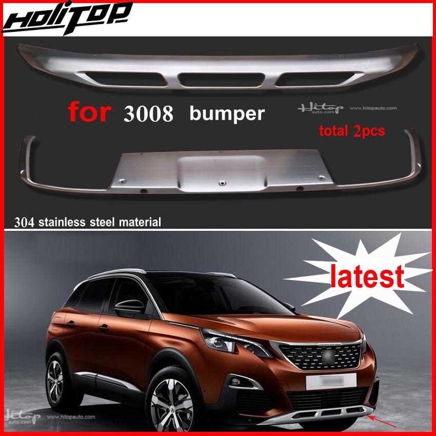 Front & rear bumper capa/skid placa bumper guard para Peugeot 3008, top 304 de aço inoxidável, ásia frete grátis, jogo para 2015-2017