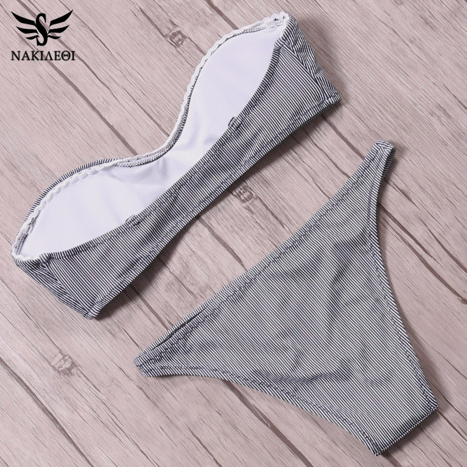 NAKIAEOI 2018 Sexy Mini Micro Bikinis Women Swimsuit Push Up Swimwear Bandeau Bikini Set Striped Brazilian Beach Bathing Suits  5