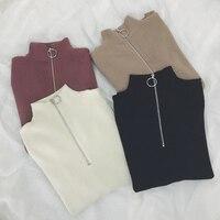 Zipper Turtleneck Solid Women Sweater Skinny Elastic Knitted Full Sleeve Pullover Feminino Soft Femme Spring Jumper