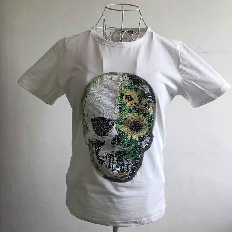 ... FOGIMOYA Sequined T Shirt 2018 Summer Emoji Skull Sequined Top Short  Sleeve T Shirts Casual Skull ... 773f2ba7e69b