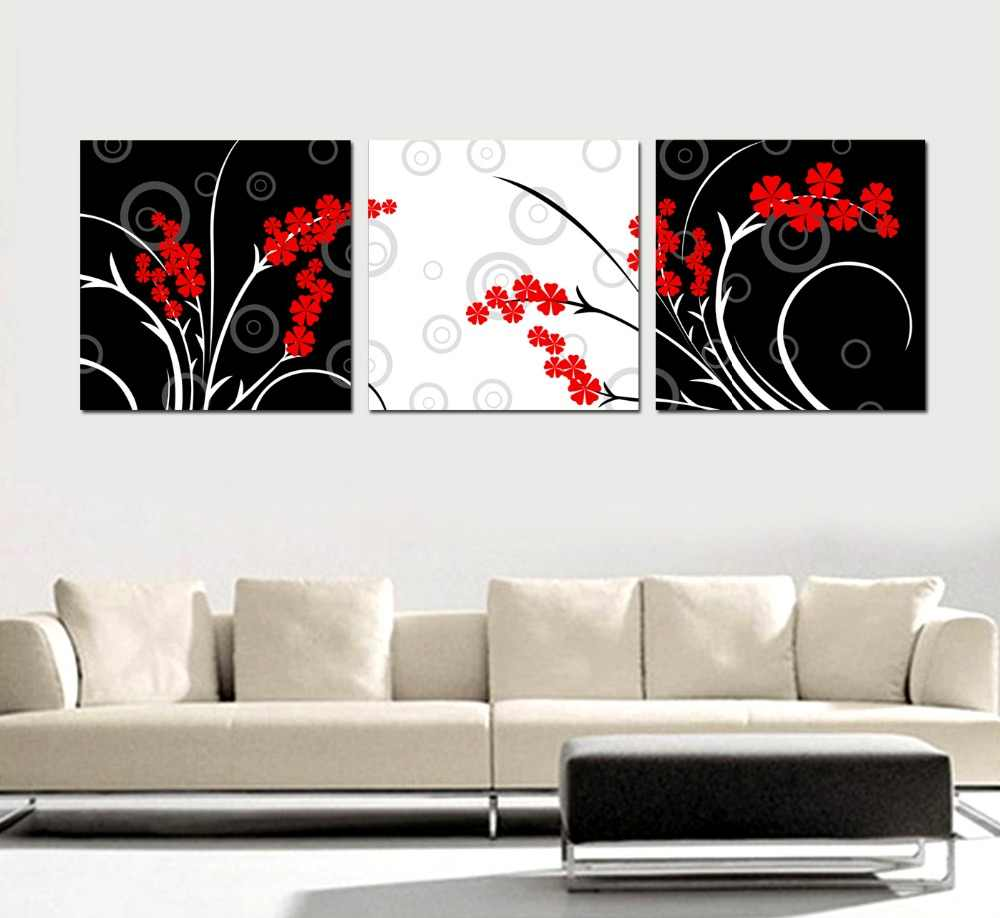 HOME DECOR High Precision  wall printing Set of 3 Red flower leaves Stretched canvas print Ready to Hang
