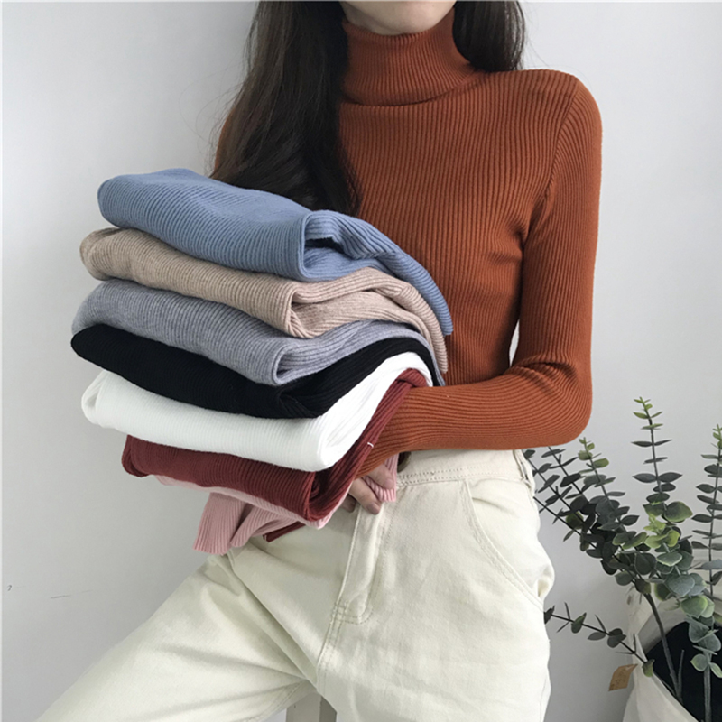 AOSSVIAO 2020 Turtleneck Warm Women Sweater Autumn Winter Knitted Femme Pull Slim High Elasticity Soft Female Pullovers Sweater