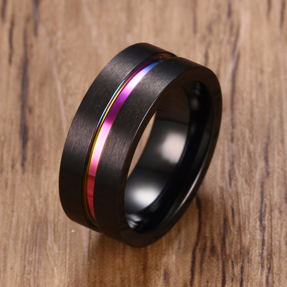 Flat Black Stainless Steel Ring Brushed With Rainbow