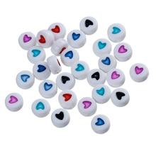 """Doreen Box, акриловые бусины-разделители, плоские круглые в случайном порядке, эмаль, узор в виде сердца, около 7 мм(2/"""") Диаметр, отверстие: прибл. 1 мм, 200 шт"""
