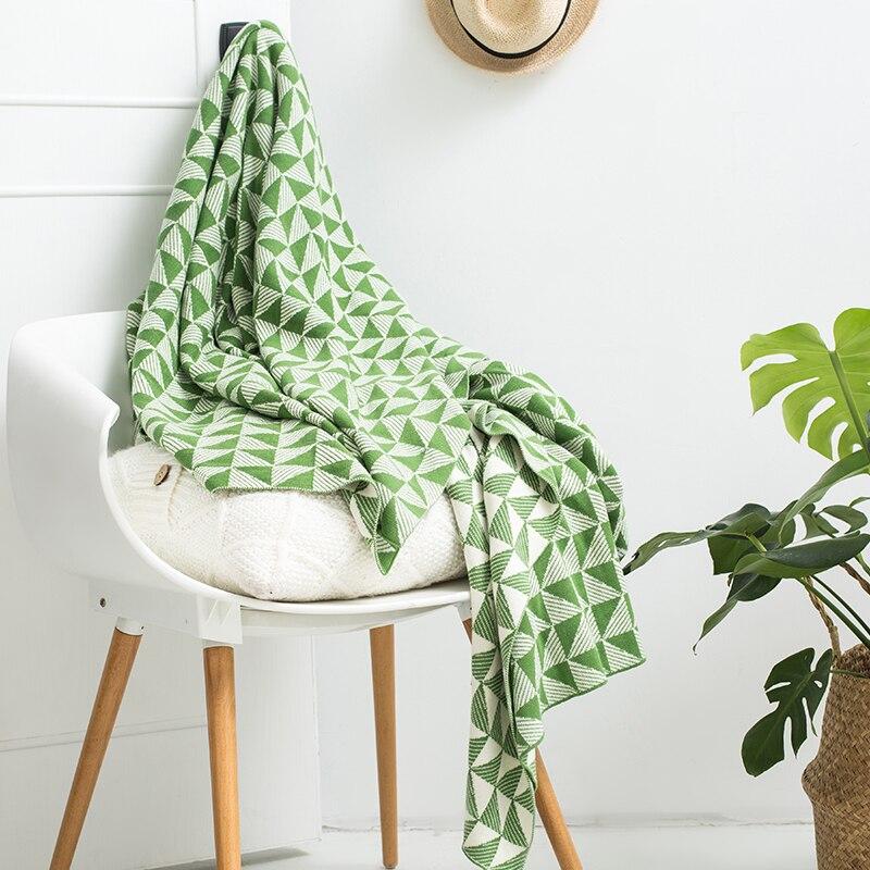 IDouillet moderne motif géométrique 100% coton tricot jeter couverture pour lit canapé canapé chaise 130x180 cm vert literie décor à la maison