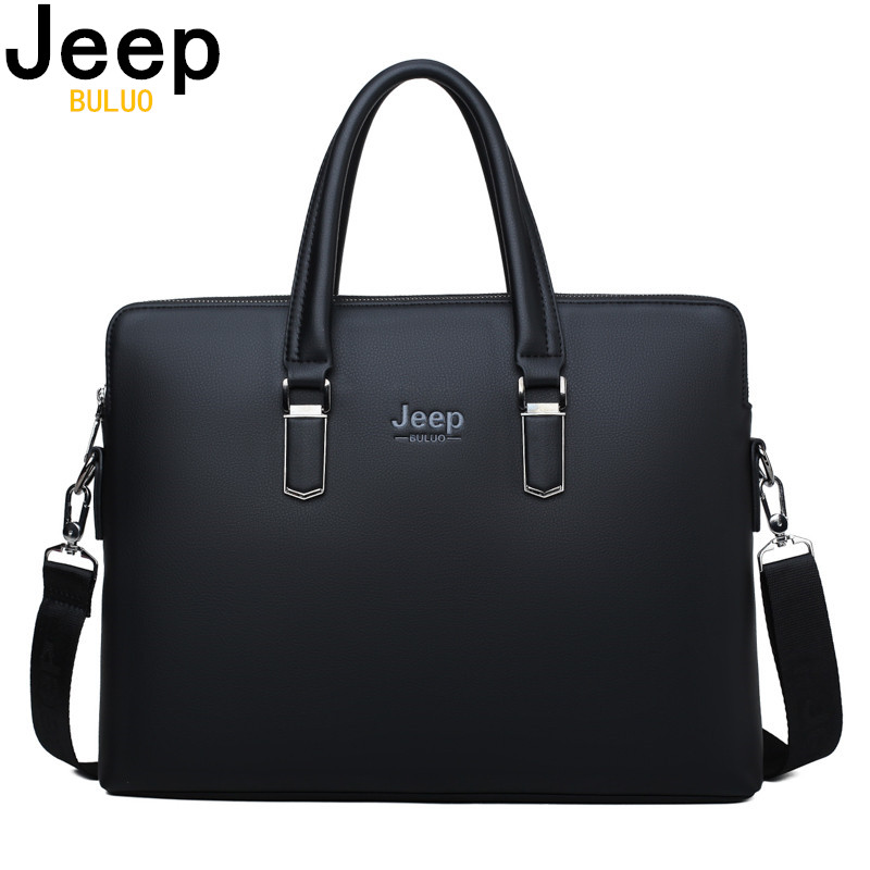 JEEP BULUO Men Leather Briefcase Bag Business Famous Brand Shoulder Messenger Bags Office Handbag 14 inch Innrech Market.com