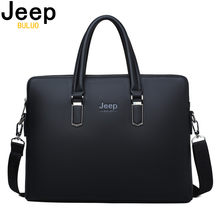 JEEP BULUO Men Leather Briefcase Bag Business Famous Brand Shoulder Messenger Bags Office Handbag 14 inch Laptop High Quality(China)