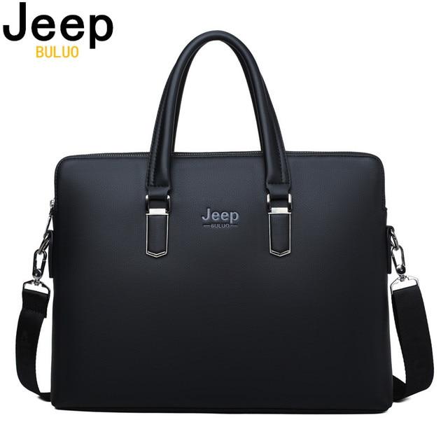 JEEP BULUO Men Leather Briefcase Bag Business Famous Brand Shoulder Messenger Bags Office Handbag 14 inch Laptop High Quality
