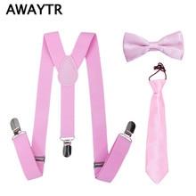 AWAYTR 3 Pcs/Lot Boys Girls Pink Color Suspenders School Wedding Fashion Clothing Accessories Elastic Straps Neckties Bowties