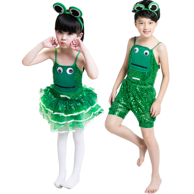 0778f8526709 frog dance costume for kids green Sequins sexy dance costumes for ...