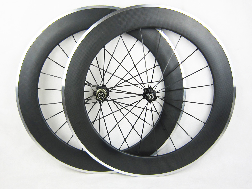 80mm Alloy braking 23mm width clincher carbon wheels road bicycle wheelset with novatec powerway chosen hub