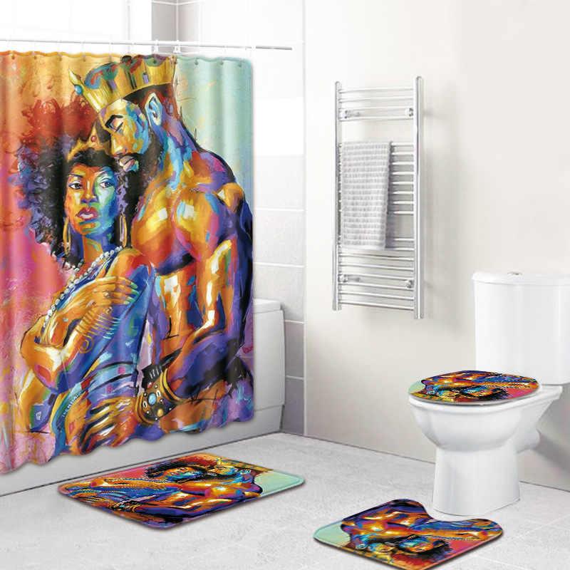 アフリカ系アメリカ人男性と女性パターンシャワーカーテンセット以外敷物バスルームトイレフランネルバスマットセット 4 個